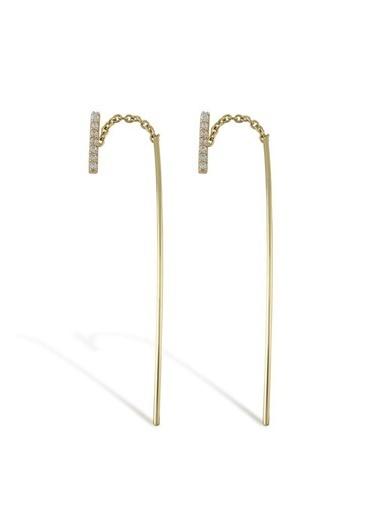 Piano Jewellery Cabaret Zirkon Taşlı Çubuk Küpe 14 Ayar Altın